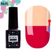 Гель-лак Kira Nails T15 розово-малиновый, при нагревании светлый, персиково-розовый 6 мл