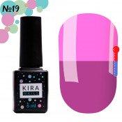 Гель-лак Kira Nails T19 фиолетовый, при нагревании приглушенный розовый 6 мл