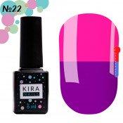 Гель-лак Kira Nails T22 сине-фиолетовый, при нагревании темно-розовый 6 мл
