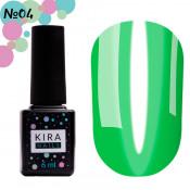 Гель-лак Kira Nails Vitrage V04 зеленый салатовый витражный 6 мл