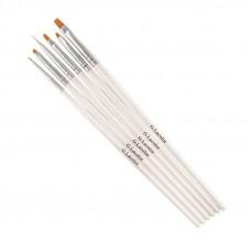 Набор кистей для дизайна и наращивания G.Lacolor с белой ручкой (6 шт.) синтетика