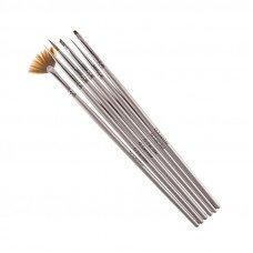 Набор кистей для дизайна и наращивания G.Lacolor с серой ручкой (6 шт.) синтетика