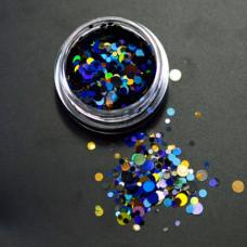 Камифубуки для ногтей сине-золотые кружочки миксованные №05