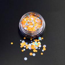 Камифубуки для ногтей оранжево-белые кружочки миксованные №19