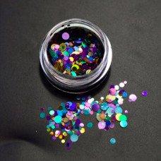 Камифубуки для ногтей лилово-синие кружочки миксованные №06