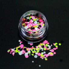 Камифубуки для ногтей розово-салатовые с черным кружочки миксованные №25