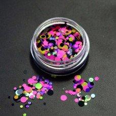 Камифубуки для ногтей розово-желтые кружочки миксованные №29
