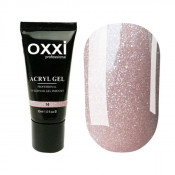 Акригель Oxxi 14 нежный розовый с микроблеском 30 мл
