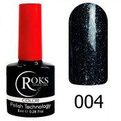 Гель-лак Roks Color 004 Чёрный шиммер