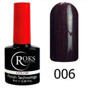 Гель-лак Roks Color 006 Баклажановый с микроблеском Горький шоколад
