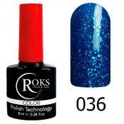 Гель-лак Roks Color 036 Светло-синий с блёстками