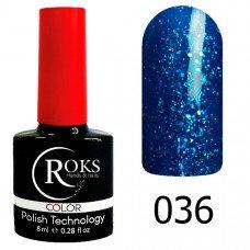 Гель-лак Roks 036 Светло-синий с блёстками серии Color 8 мл