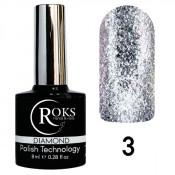Гель-лак Roks (Opium) Diamond №3 Серебристый