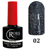 Светоотражающий гель-лак Roks NIGHT STARS 002 чёрный 8 мл