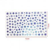 Слайдер для ногтей 3D голубые снежинки на клеевой основе F281
