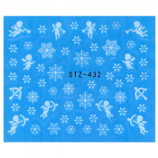 Слайдер для ногтей снежинки и ангелочки stz432