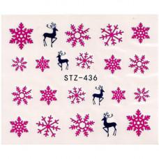 Слайдер для ногтей снежинки и олени stz436