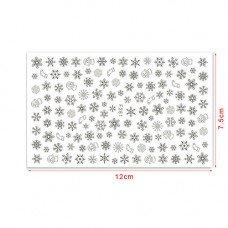 Слайдер для ногтей серебристые снежинки F281 на клеевой основе