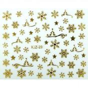Слайдер для ногтей 3D золотистые снежинки на клеевой основе XJZ-29