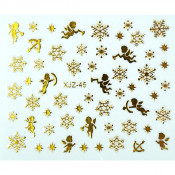 Слайдер для ногтей 3D золотистые снежинки и купидоны на клеевой основе XJZ-45