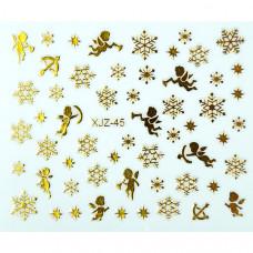 Слайдер для ногтей золотистые снежинки XJZ-45 на клеевой основе