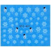 Слайдер для ногтей снежинки и снеговик stz431