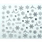 Слайдер для ногтей 3D серебристые снежинки на клеевой основе XJZ-29