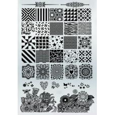 Плитка для стемпинга с узорами звездочек, абстракций и седечек
