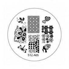 Диск для стемпинга узоры цветочки и сердечки STZ-A-05