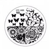 Диск для стемпинга STZ-А-06 цветочки и бабочки
