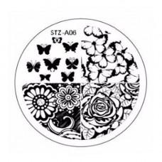 Диск для стемпинга узоры цветочки и бабочки STZ-A-06