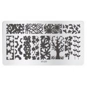 Плитка для стемпинга XY-J01 деревья и цветы