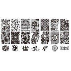 Пластина для стемпинга с узорами цветов, орнамента и кружева