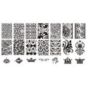 Плитка для стемпинга с узорами абстракций, короны и пальм