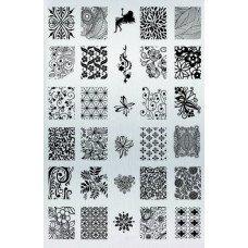 Плитка для стемпинга с узорами абстракций, цветов и бабочек