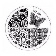 Диск для стемпинга узоры кружево и бабочки STZ-A-04