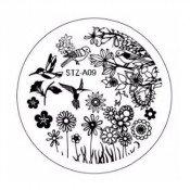 Диск для стемпинга STZ-А-09 цветочки и птички
