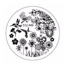 Диск для стемпинга узоры цветочки и птички STZ-A-09