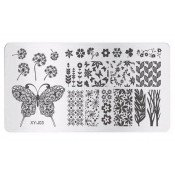 Плитка для стемпинга XY-J03 цветы и бабочки