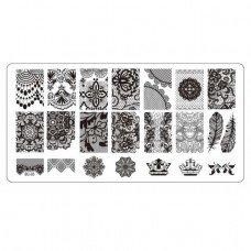 Плитка для стемпинга с узорами кружева, короны и пера