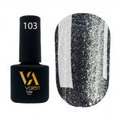 Гель-лак Valeri Color 103 тёмно-серый с серебристыми блёстками 6 мл