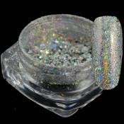 Хлопья Юки однотонные 09 серебристые голографик