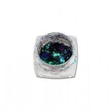 Хлопья Юки 01 - изумрудно-синяя втирка для ногтей с насыщенным пигментом