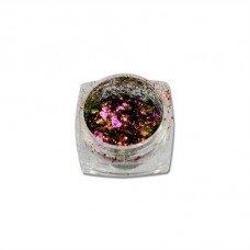 Хлопья Юки 03 - розово-бронзовая втирка для ногтей с насыщенным пигментом