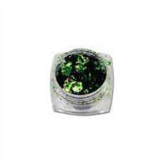 Хлопья Юки 04 зеленая втирка хамелеон для ногтей с насыщенным пигментом