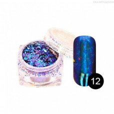 Хлопья Юки Tnl-12 - сине-фиолетовая втирка для ногтей с насыщенным пигментом