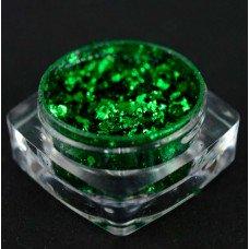 Однотонные хлопья юки 06 - зелёные, втирка для ногтей с насыщенным пигментом