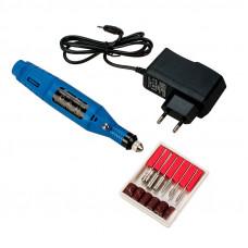 Синий мини фрезер для маникюра YRE 20000 с регулировкой оборотов