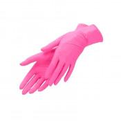 Перчатки нитриловые текстурированые на пальцах розовые (размер M - 10 шт/уп) нестерильные неопудреные